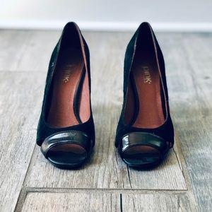Leather Peep Toe Heel